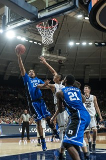 Duke freshman center Jahlil Okafor makes a layup. Michael Yu   The Observer