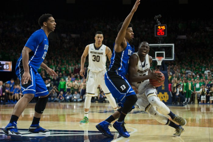 Irish senior guard Jerian Grant takes the ball to the hole during Notre Dame's 77-73 win over Duke on Wednesday at Purcell Pavilion.