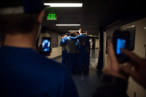 Duke men's basketball team huddles in the concourse of the Purcell Pavilion before Wednesday's game. Michael Yu   The Observer