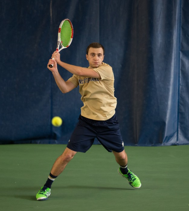 Irish sophomore Eddy Covalschi follows through on a shot during Notre Dame's 4-3 win over Oklahoma State on Saturday.