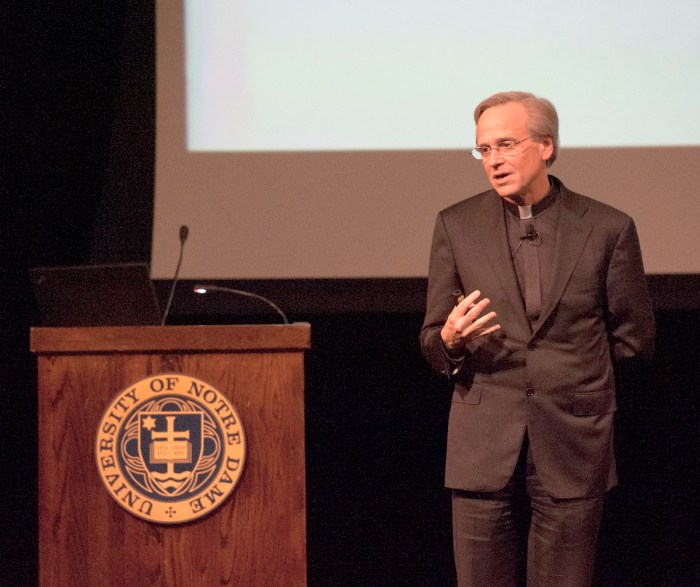 University President Fr. John Jenkins speaks at a town hall meeting last June. The Board of Trustees re-elected Jenkins to his third five-year term Friday at their winter meeting in Naples, Florida.