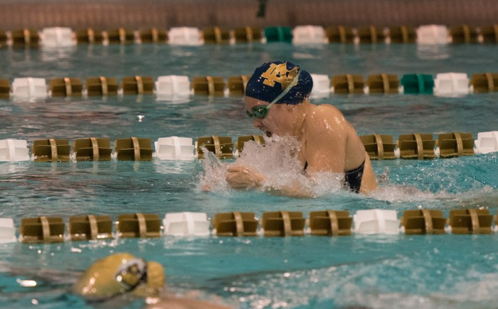 Irish senior Emma Reaney comes up for air during the breaststroke of Notre Dame's 170-128 dual meet loss to Purdue on Nov. 1. Reaney won two individual races and one relay at the meet.