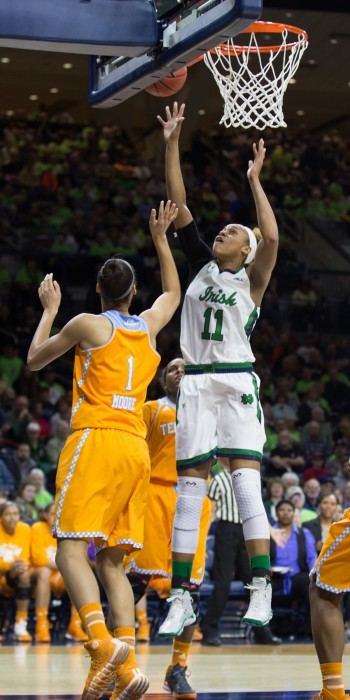 Irish freshman forward Brianna Turner lays a shot in during Notre Dame's 88-77 win over Tennesse on Jan. 19 at Purcell Pavilion.