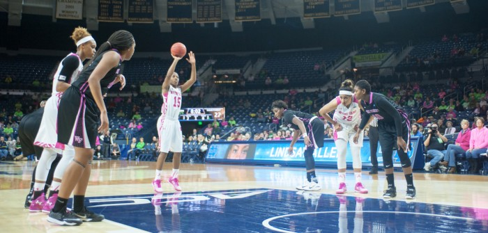 Irish sophomore Lindsay Allen attempts a free throw against Wake Forest on Feb. 1. Notre Dame has beaten their last five conference opponents by an average score of 29 points.