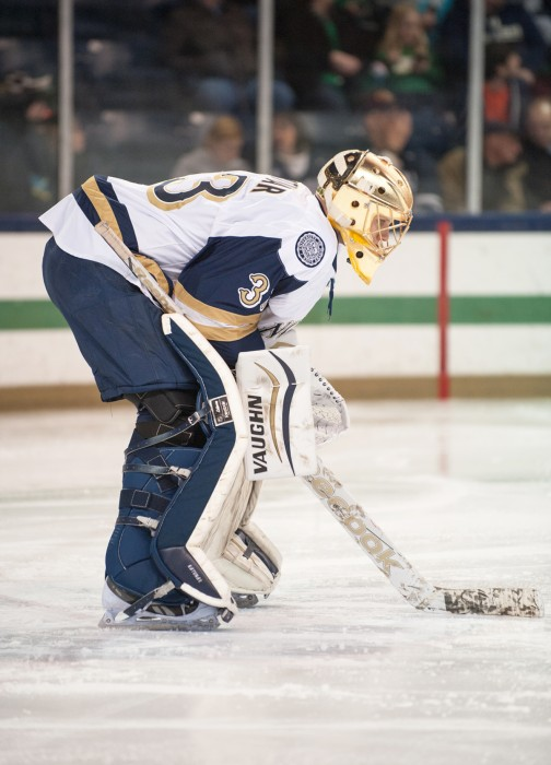 Sophomore Chad Katunar guards the goal against New Hampshire on Jan. 30. The Irish sit at 12-14-4 overall this season.