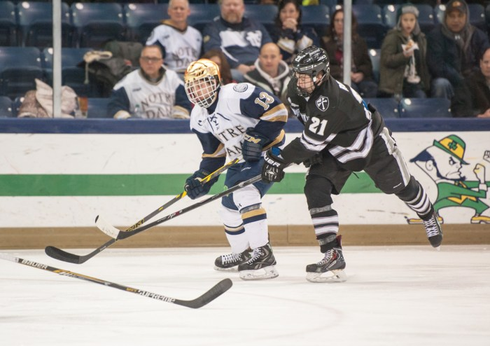 Irish sophomore center Vince Hinostroza awaits a pass during Notre Dame's 2-0 home victory over Providence on Friday.