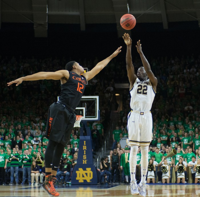 Senior guard Jerian Grant pulls up for a shot during Notre Dame's 75-70 win over Miami on Jan. 17 at Purcell Pavilion.