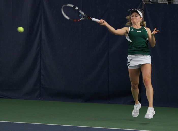 Irish sophomore Mary Closs hits a forehand during Notre Dame's 4-3 loss to Georgia Tech on Feb.21, 2014 at Eck Tennis Pavilion. Closs and partner sophomore Jane Fennelly won both of their doubles matches this weekend.