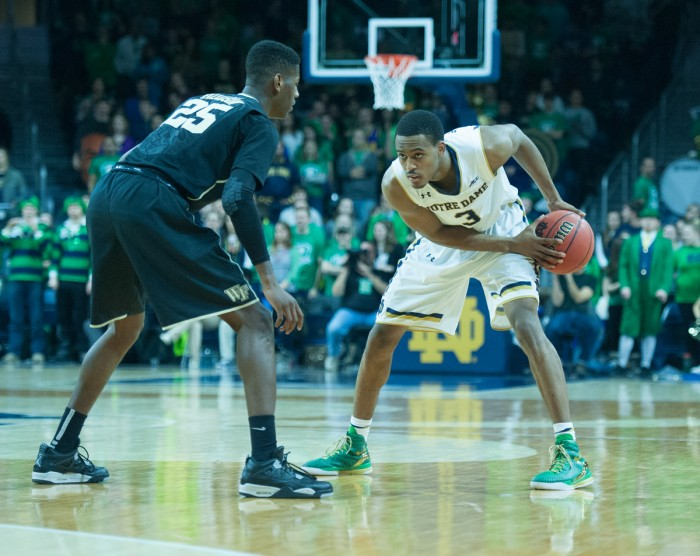 Irish sophomore guard V.J Beachem analyzes the defense during Notre Dame's 88-75 win over Wake Forest on Feb. 17 at Purcell Pavilion.