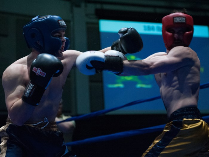 Senior Bryan Cooley attempts to connect on a hook during the Bengal Bouts semifinals Tuesday night at Joyce Fieldhouse.