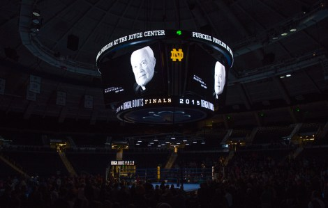 The Notre Dame Boxing Club honors Fr. Hesburgh with a 10-bell salute before the bouts. Michael Yu | The Observer