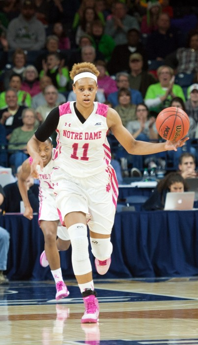 Irish freshman Brianna Turner dribbles up the court in Notre Dame's 68-52 win over Louisville on Feb. 23 at Purcell Pavilion.