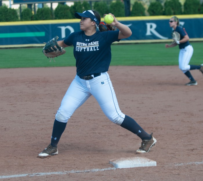 Irish junior infielder Micaela Arizmendi throws the ball to home plate in an exhibition game at Melissa Cook Stadium on Sept. 28.