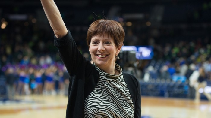 Irish head coach Muffett McGraw celebrates after her team's Round of 32 victory against DePaul on Sunday night.