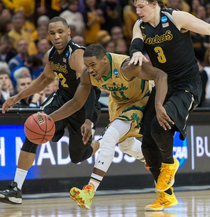 Irish sophomore guard Demetrius Jackson splits a pair of Wichita State defenders during Notre Dame's 81-70 victory in the Sweet 16.
