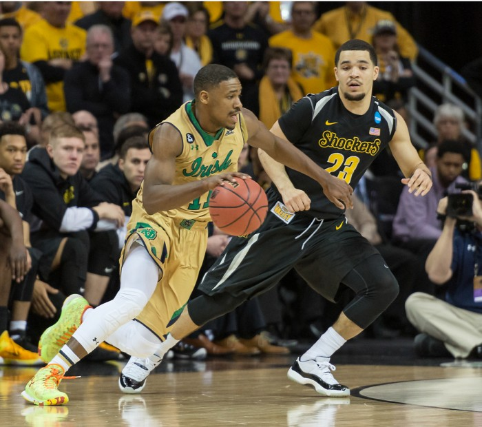 Jackson dribbles around a Wichita State defender during Notre Dame's 81-70 win over the Shockers at Quicken Loans Arena in Cleveland.