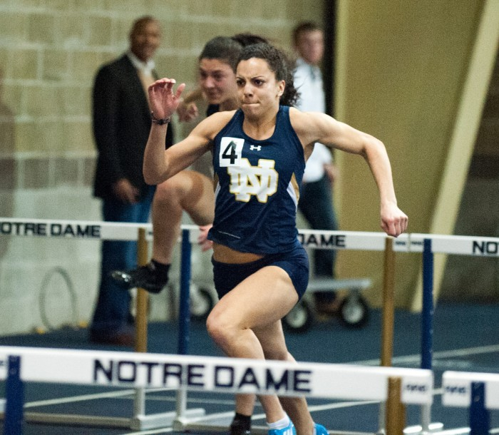 Senior Jade Barber competes Feb. 6 at the Meyo Invitational at Meyo Field. Barber set a school record in the 100-meter hurdles Saturday with a time of 12.81 seconds.