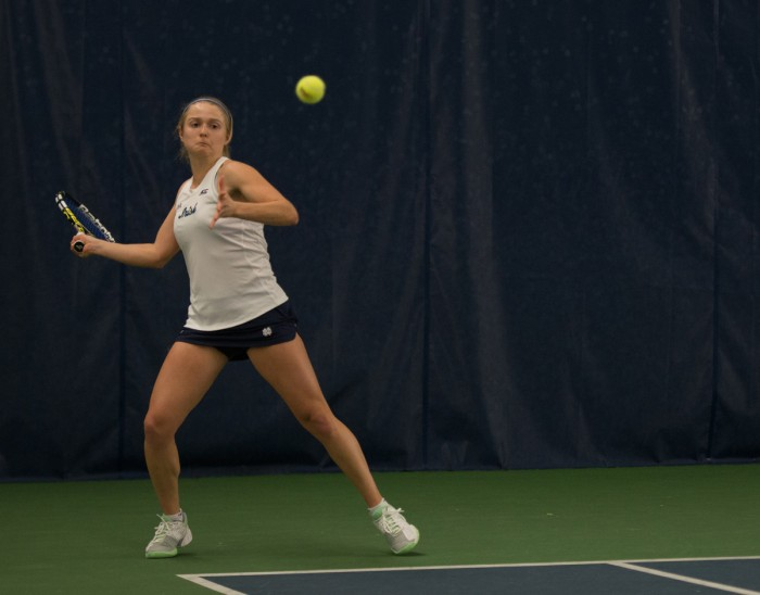 Irish sophomore Monica Robinson readies a forehand shot against Stanford in a 6-1 loss on Feb. 6 at Eck Tennis Pavilion. Robinson lost in three sets to Cardinal  freshman Taylor Davidson.