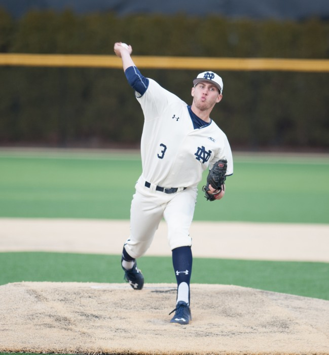Sophomore right-hander Ryan Smoyer pitches against Central Michigan on March 18 at Frank Eck Stadium.