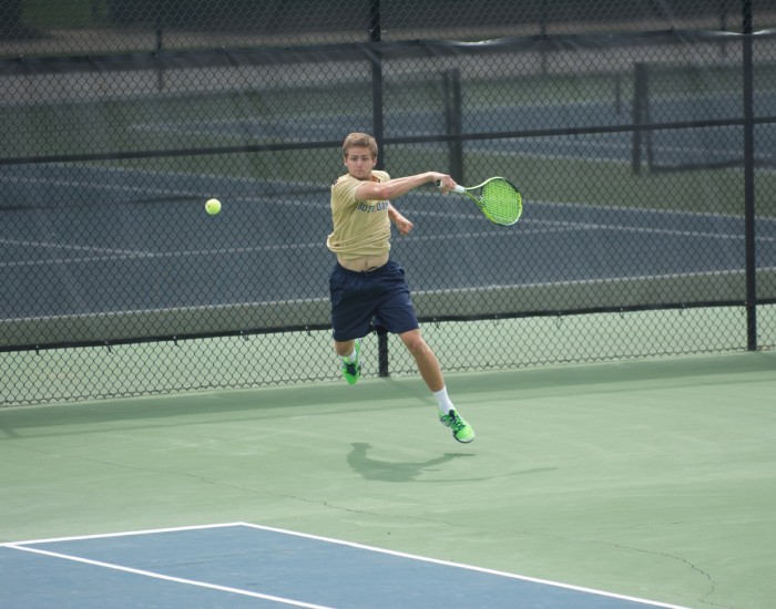 Irish junior Quentin Monaghan rips a shot during Notre Dame's 4-3 win over North Carolina State on Saturday.