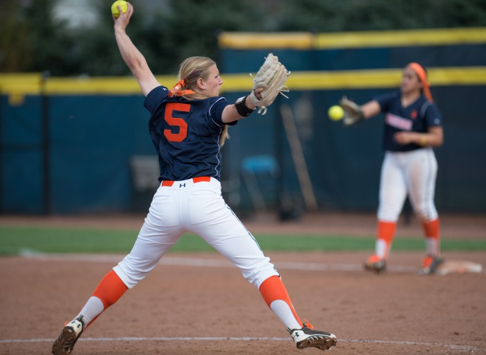 Irish junior pitcher Allie Rhodes warms up during Notre Dame's 10-1 win over Syracuse on Saturday at Melissa Cook Stadium. Rhodes allowed one run and struck out six over five innings of work.
