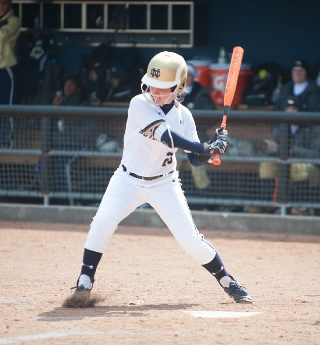 Freshman infielder Morgan Reed starts her swing in a 13-0 win over Georgia Tech on March 21 at Melissa Cook Stadium.