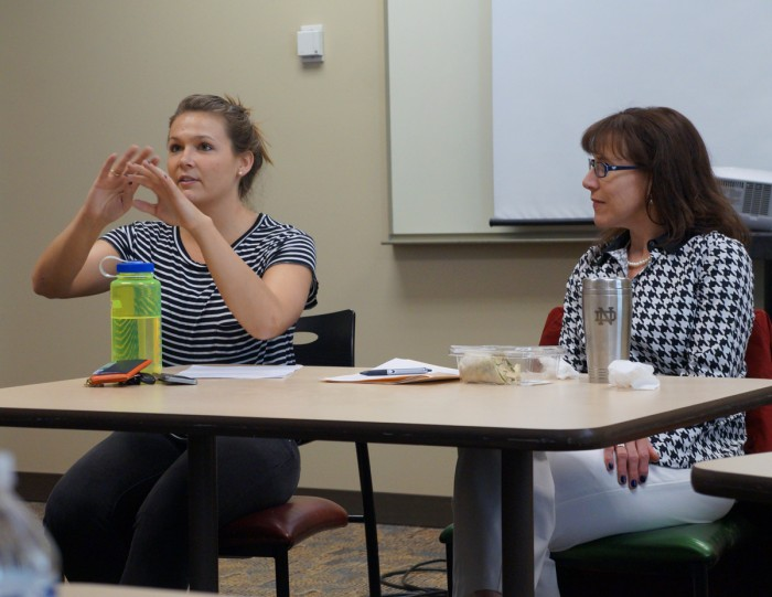 Senior Meredith Mersits and director of the Justice Education Program Adrienne Lyles-Chockley presented the final Justice Friday installment and reflected on the series as a whole.