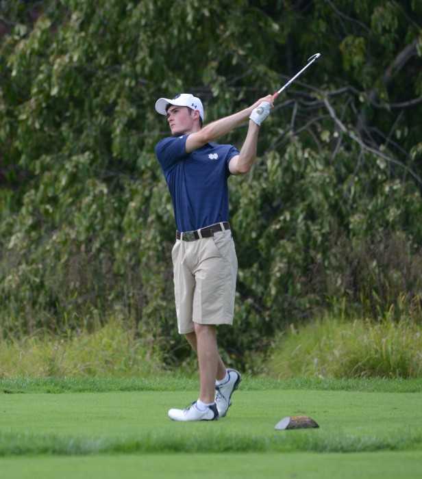 Irish sophomore Liam Cox watches his tee shot at Warren Golf Course during the Notre Dame Challenge on Aug. 31. Cox finished in 16th place.