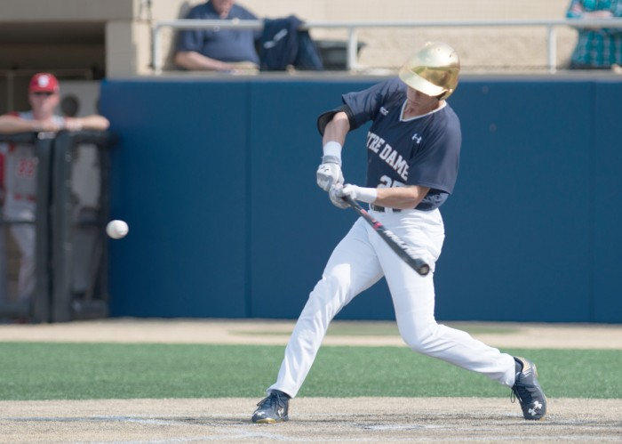 Irish senior outfielder Robert Youngdahl looks to connect on a pitch during a 4-2 loss to North Carolina State at Frank Eck Stadium on April 18. Youngdahl is second on the team with 26 runs batted in.