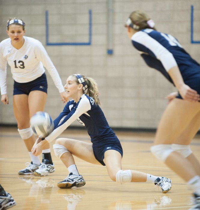 Belles senior outside hitter Katie Hecklinski completes a dig during Saint Mary's 3-0 loss to Hope at Angela Athletic Center on Oct. 31.