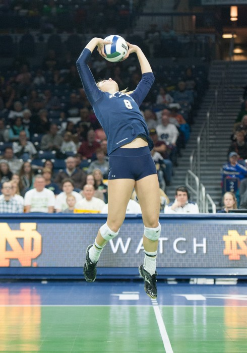 Irish sophomore setter Maddie Dilfer sets the ball during Notre Dame's 3-0 loss to Pittsburgh at Purcell Pavilion on Nov. 28.