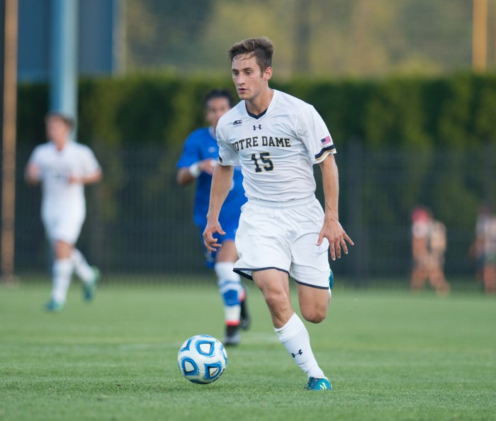 Irish senior defender Evan Panken controls the ball during Notre Dame's 1-0 loss to Kentucky at Alumni Stadium on Sept. 8. The fourth-ranked Irish beat Indiana on Sunday with a 109th-minute goal.
