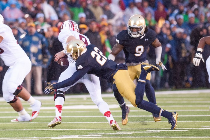 crop 2, 20141004, 2014-2015, 20141004, Football, Kevin Song, Notre Dame Stadium, Schumate, Smith, vs Stanford