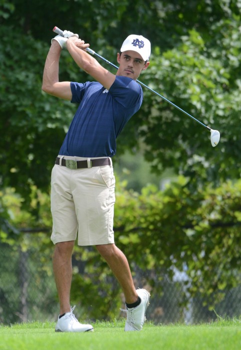 Senior Zach Toste finishes his backswing at the Notre Dame Kickoff Challenge on Aug. 31, 2014 at the Warren Golf Course. Toste finished 22nd in this year's Notre Dame Kickoff Challenge with a score of 156.