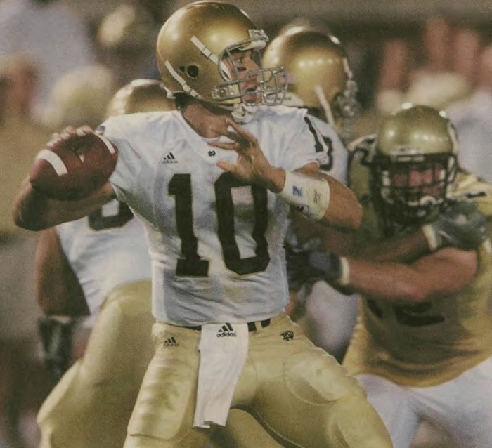 Brady Quinn drops back for a pass in a game against Georgia Teach on Sept. 2, 2006. He led the Irish to a 14-10 come from behind victory in the season opener of Charlie Weis's second season.