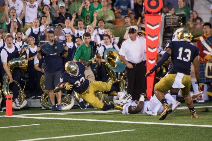 Irish freshman running back Josh Adams dives for the goal line during Notre Dame's 38-3 win over Texas on Sept. 5 at Notre Dame Stadium.