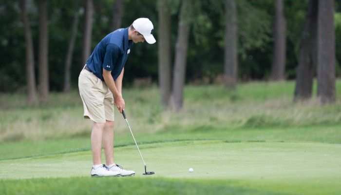 Junior Liam Cox rolls a putt on his way to a 16th place finish at the Notre Dame Kickoff Challenge, which took place at the Warren Golf Course on August 31, 2014. The Irish went on to win the tournament.