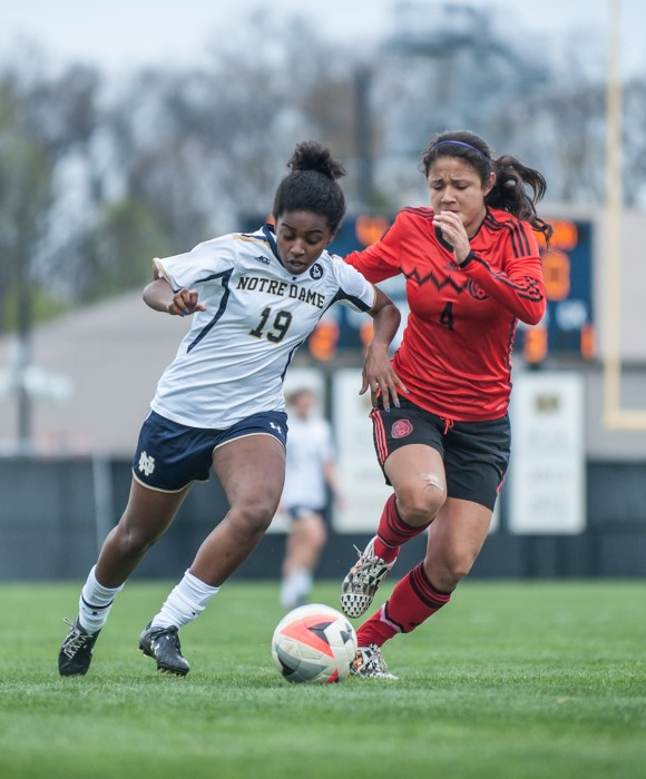 Notre Dame junior midfielder Rilka Noel protects the ball from a defender during a 4-1 victory against the Mexico U-20 National Team on April 24 at Alumni Stadium.
