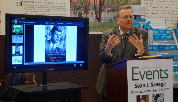 Saint Mary's professor of political science Sean Savage speaks about his new book focusing on the life and political career of John F. Kennedy on Thursday at the Barnes and Noble in University Park Mall.
