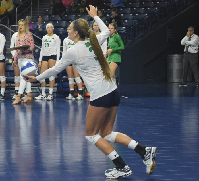 Irish sophomore outside hitter Sam Fry winds up for a serve during Notre Dame's 3-1 victory over Mississippi State on Sept. 11.