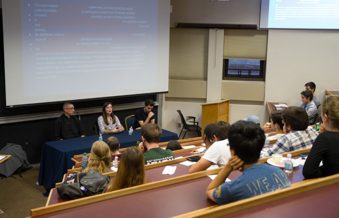 Panelists Fr. Peter McCormick, senior Annie Kuster and junior Daniel Esparza discuss consent and the hook-up culture at Notre Dame.