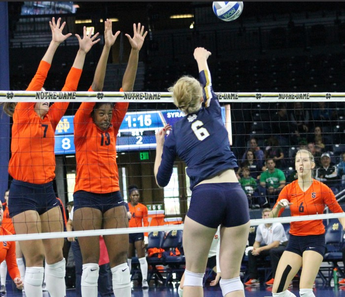 Sophomore outside hitter Maddie Plumlee spikes the ball during a 3-2 loss to Syracuse on Sunday at Purcell Pavilion.