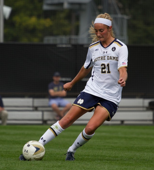 Irish senior defender Brittany Von Rueden crosses the ball into the box during Notre Dame's 1-0 loss against Florida State on Sept. 27 at Alumni Stadium. Ruedan has three assists this season for the Irish, which has her tied for third on the team.