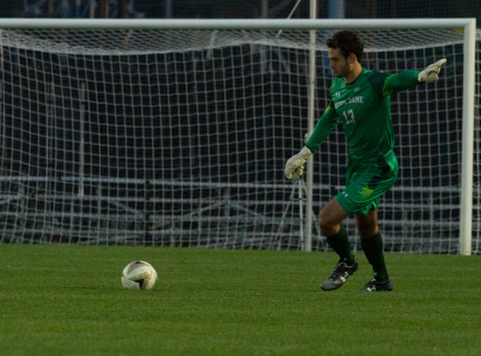 Junior goalkeeper Chris Hubbard kicks a goal kick during Notre Dame's 3-1 victory over Virginia at Alumni Stadium on Sept. 25. The Irish travel to Virginia Tech for a game against the Hokies on Friday.