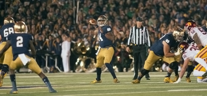 Irish sophomore quarterback DeShone Kizer looks to pass during Notre Dame's 41-31 win over Southern California on Oct. 17.