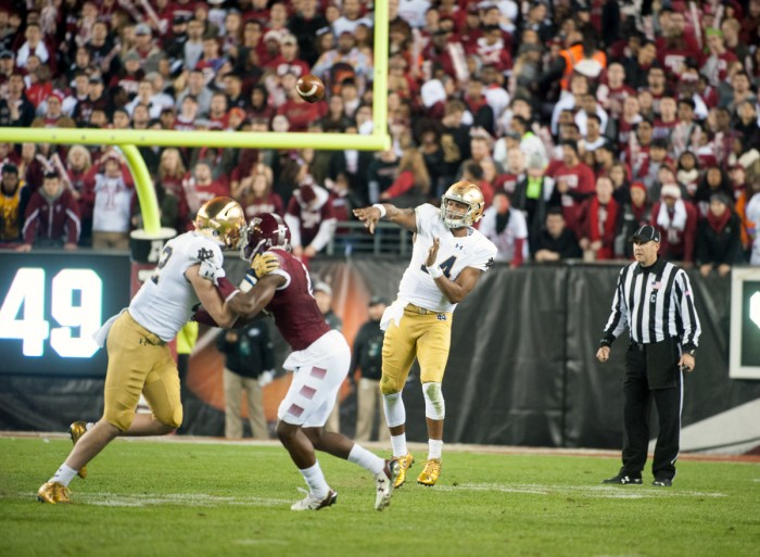 Irish sophomore quarterback DeShone Kizer throws a pass during Notre Dame's 24-20 win over Temple on Saturday at Lincoln Financial Field. Kizer threw for 299 yards and ran for another 143 yards in the win.