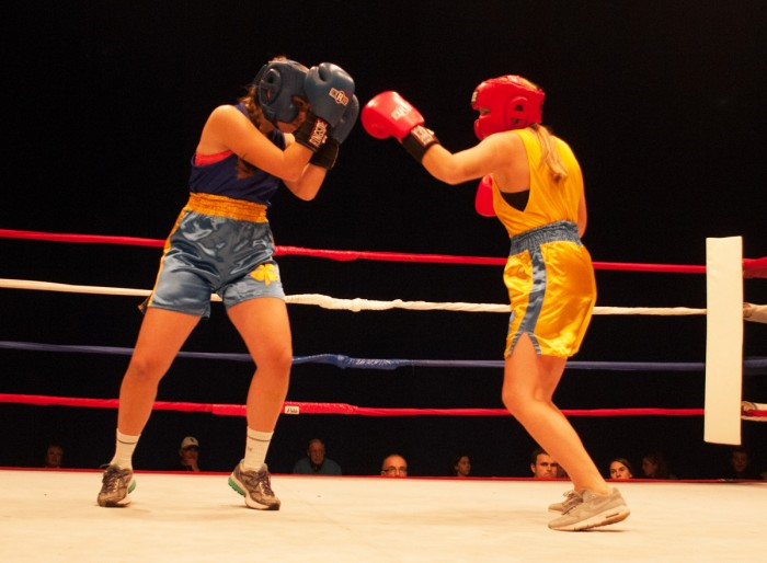 "Junior Catherine Levy fights against senior Katelyn ""Wailin'""  Whelan in the final round of Baraka Bouts on Wednesday."