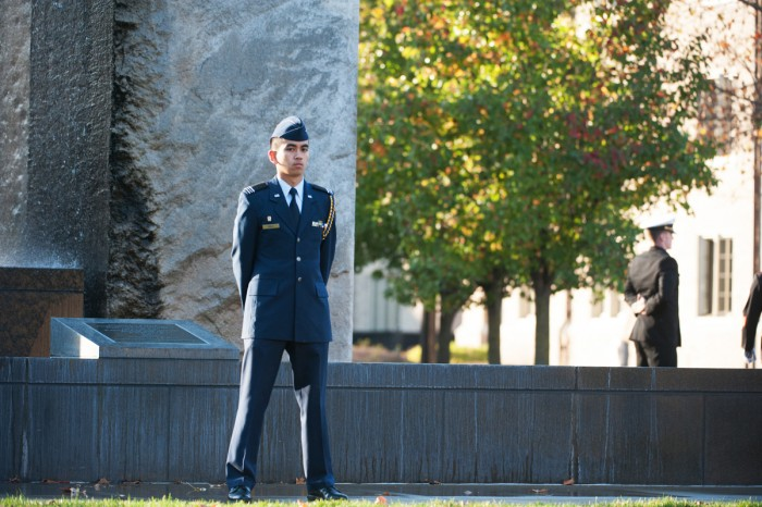 "In observance of Veteran's Day, the Notre Dame ROTC units stood vigil for 24 hours at the Clarke Memorial Fountain, known popularly as ""Stonehenge,"" to honor the men and women who have served."