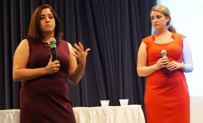 """Sexual assault activists Andrea Pino, left, and Annie Clark, who were featured in """"The Hunting Ground,"""" speak at a Sept. 11 event at Legends. The film explores 'rape culture' that students still try to understand and fight."""