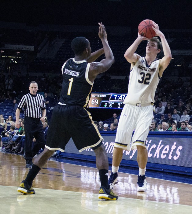 Irish junior guard Steve Vasturia takes a shot during Notre Dame's 86-78 win over Milwaukee on Nov. 17 at Purcell Pavilion.